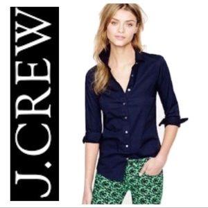 J Crew Navy Blue Linen Perfect Shirt sz 4